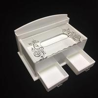 Factory direct sale wholesale low price custom desktop acrylic white tissue holder