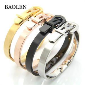 Top Quality 316L Titanium Stainless Steel belt buckle Bracelet Charm Gold Cuff Belt Bangles Size For Women Men Pulseira Feminina