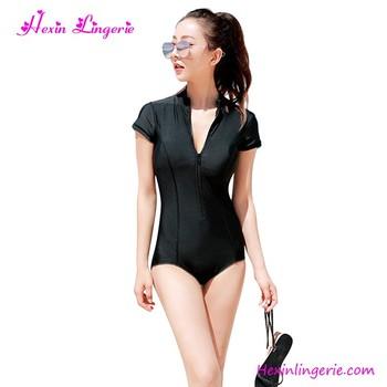 5b7248e0f9 Plain Black Front Zipper Sexy Swimwear Swimsuit Women Bikini - Buy ...