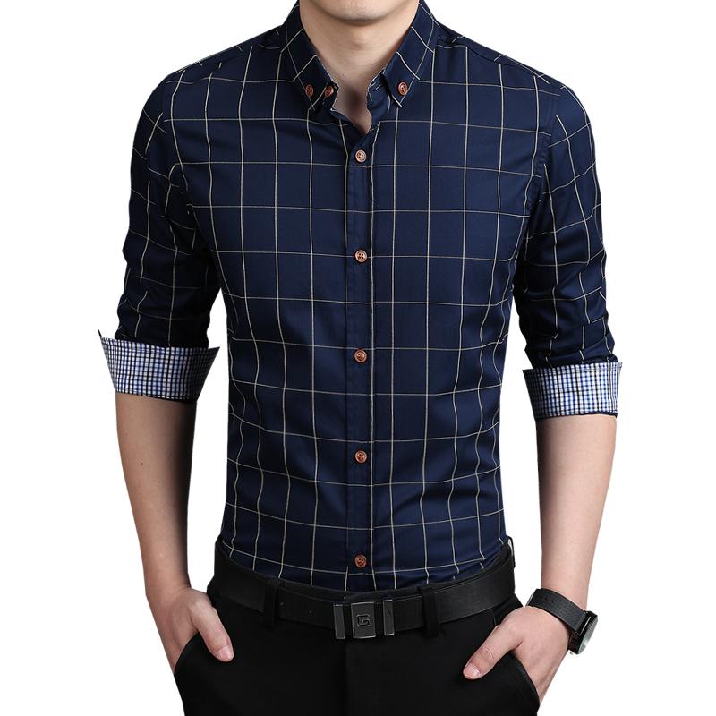 2016 New Autumn Fashion Brand Men Clothes Slim Fit Men Long Sleeve Shirt Men Plaid Cotton