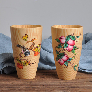 Factory Direct Accept Custom Logo Hand Painted Tea Cups Eco-friendly Wooden Cup
