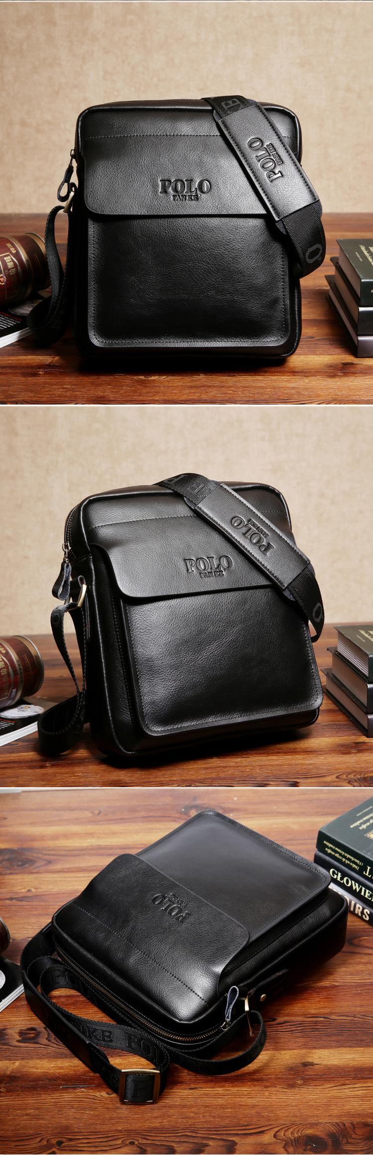 Polo Men Shoulder Bag Genuine Leather Men Bag Classical Messenger ... c51bfdd1ed80f