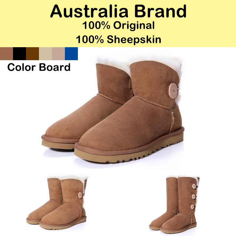 Australian-Brand-Women-Snow-Boots-Sheepskin-Wool-In-One