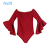 Custom Off Shoulder Long Sleeve Red Bodysuits For Women Casual Bodysuit Blouse