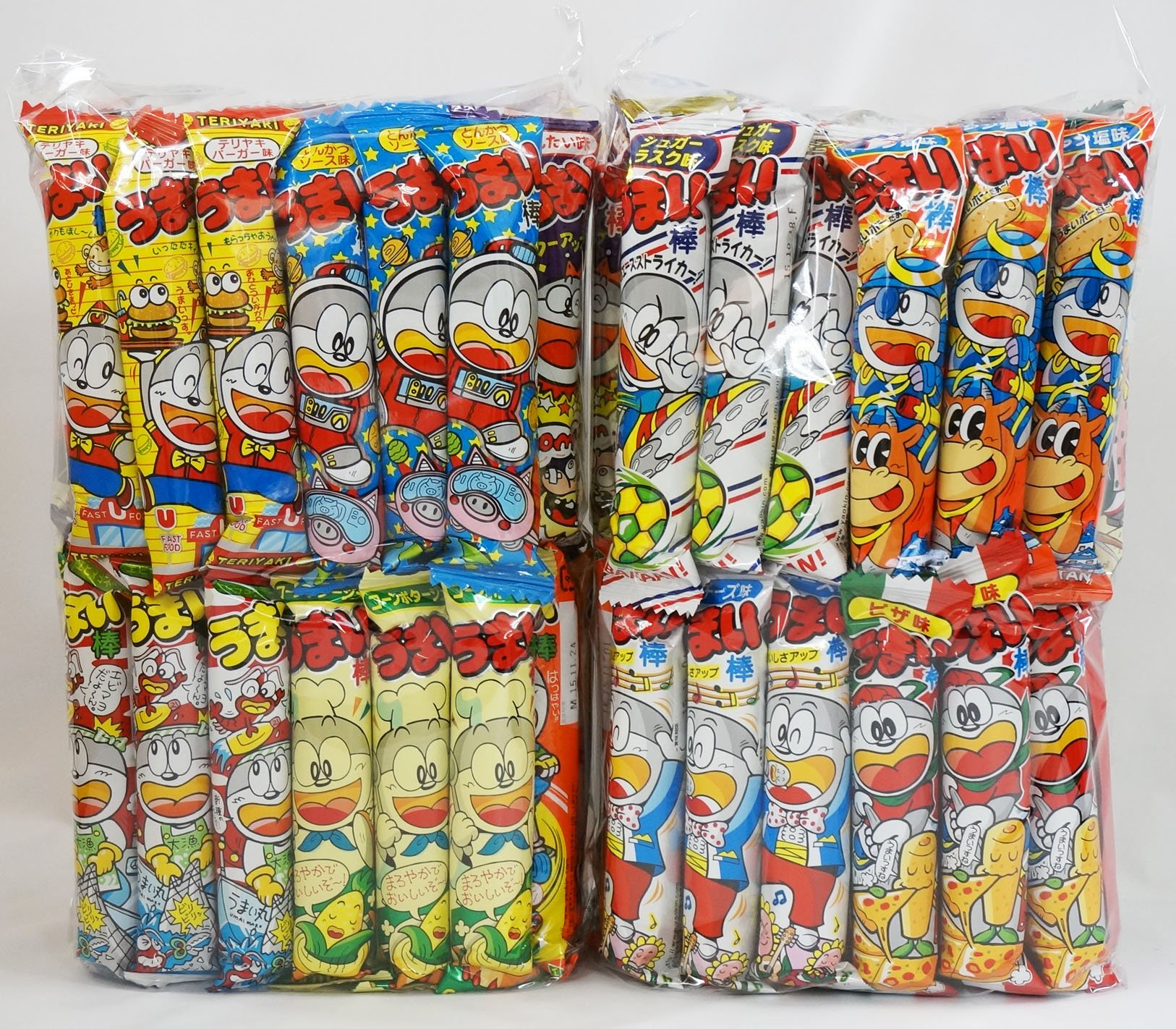 "Assorted Japanese Junk Food Snack ""Umaibo"" 100 Packs of 11 Types (2 Package Set of 50 Packs)"
