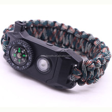 Survival Bracelet Paracord Knife Whistle Magnesium Fire Starter Compass LED Kits