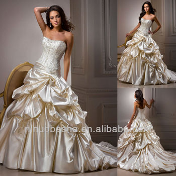Classy Strapless Embroidery Lace Up Back Court Train Ball Gown ...