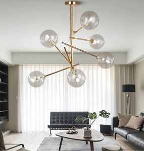 European Contemporary decorative Hanging Lamp Modern brass gold Chandelier round glass pendant Light/lamp for hotel/home