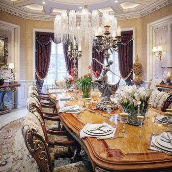 BISINI Italian Style Elegant Baroque Marquetry Dining Room Furniture European Classic Wooden Carving Long Table