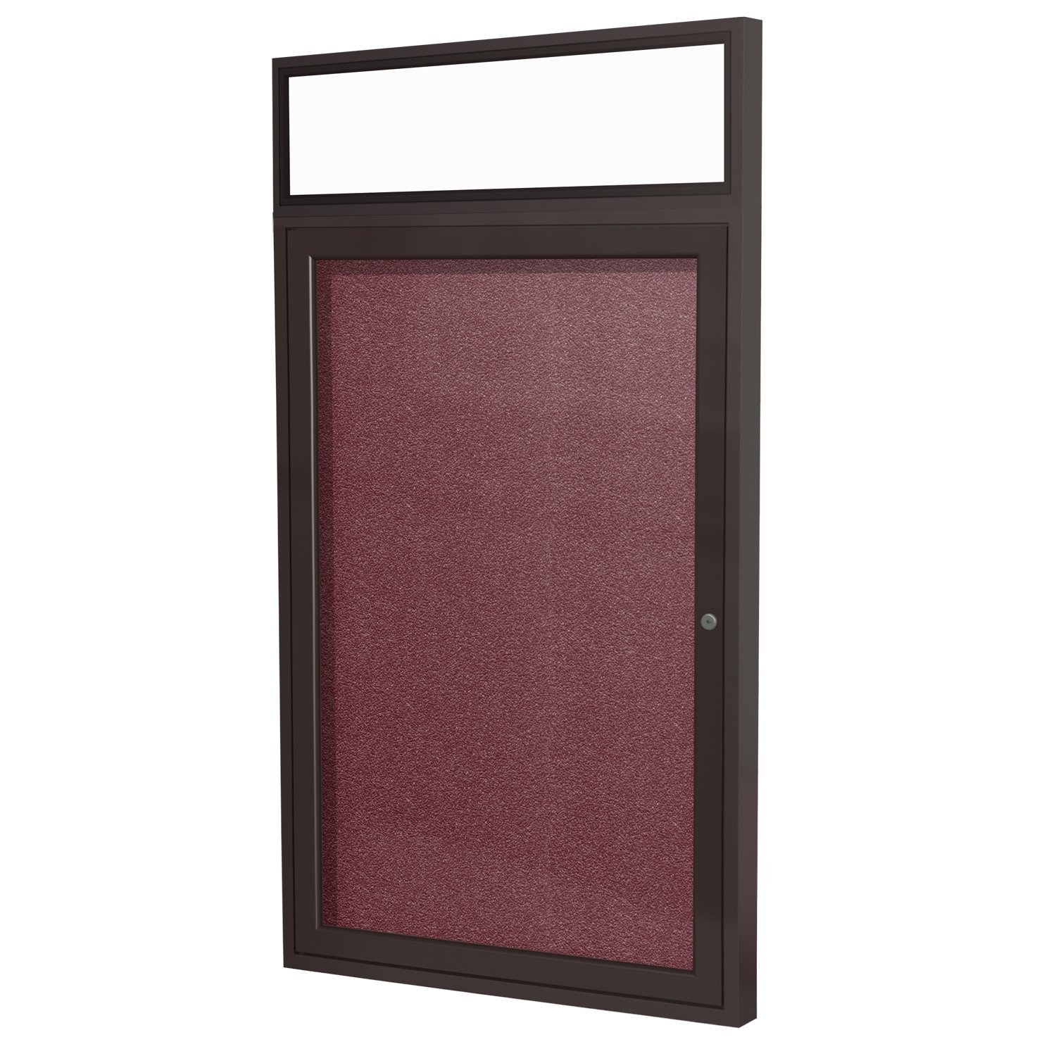 """1 Door Outdoor Enclosed Bulletin Board Frame Finish: Bronze, Surface Color: Berry, Size: 3' H x 2'6"""" W"""