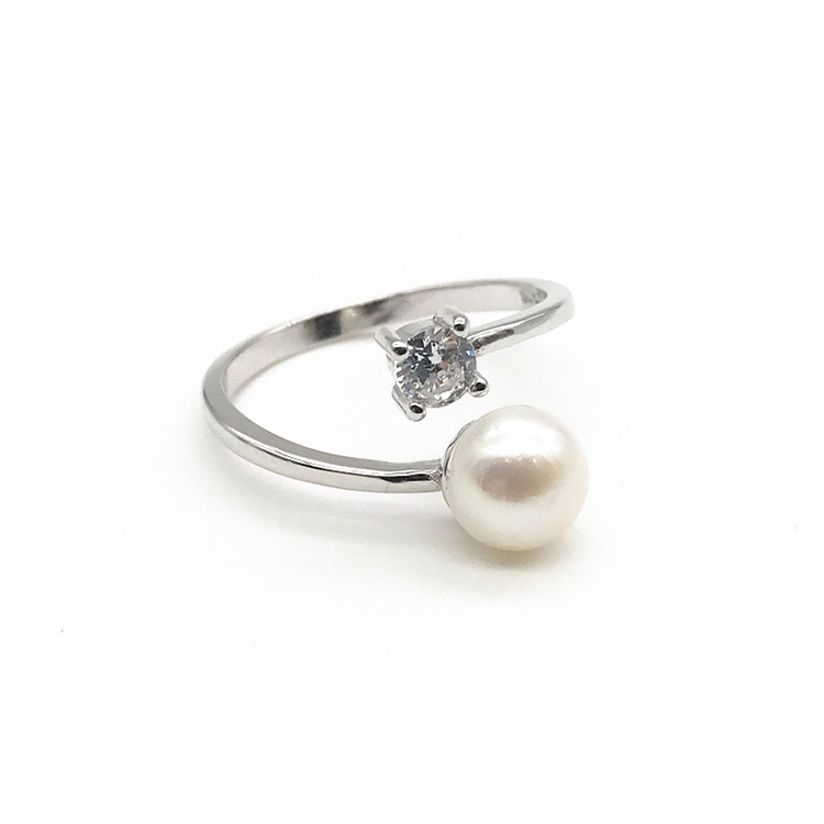 Latest Design White Pearl 925 sterling silver wedding engagement ring pearl ring designs