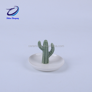 Cactus Figurines for Ceramic Crafts Jewelry Rack Ring Holder Decoration