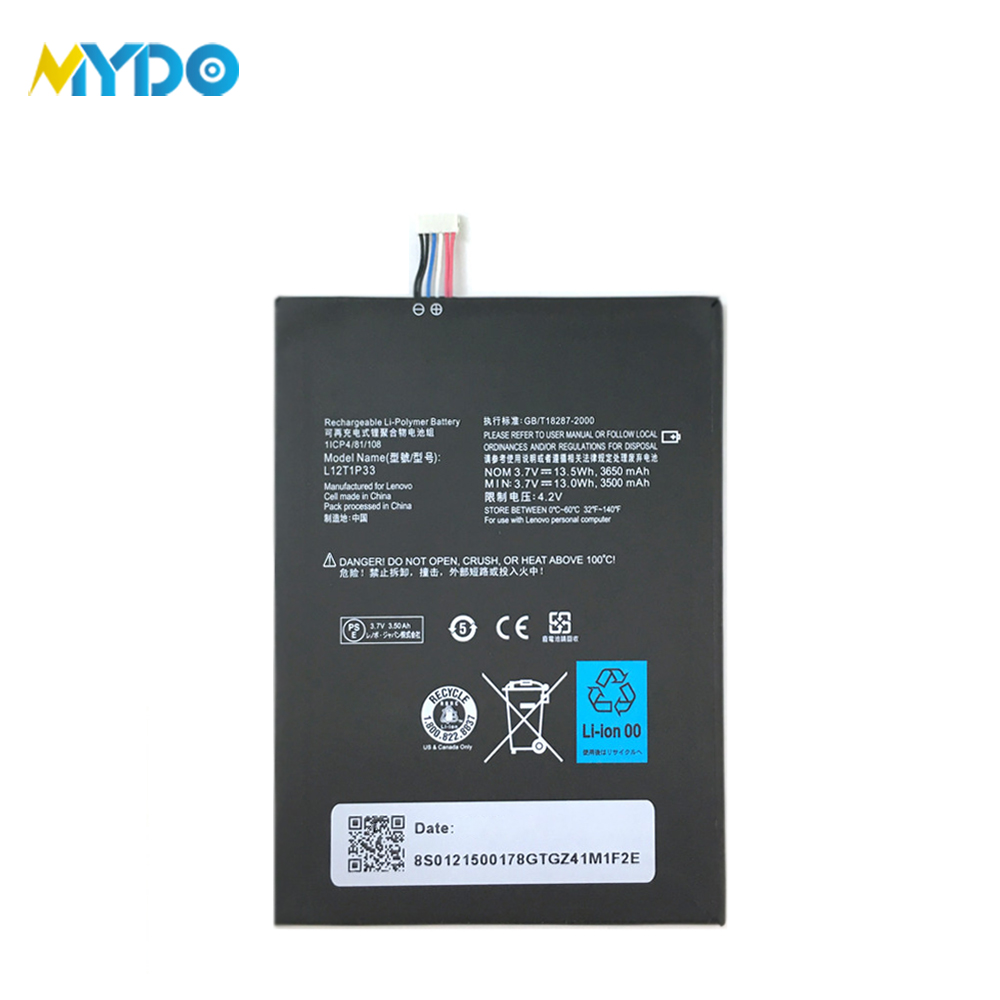 High 3650mAh capacity battery for lenovo L12T1P33 replacement tablet  battery for Lenovo ideapad A3000 A1000