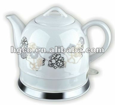 High-quality Antique ceramic electric water kettle with golden lotus leaves