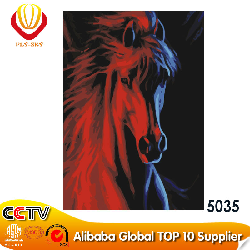 2015 Yiwu wholesale DIY oil painting on canvas horse 5035