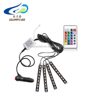 12V Car RGB LED DRL Strip Light 9 SMD 5050 Car Auto Remote Control Decorative Flexible LED Strip Atmosphere Lamp Kit