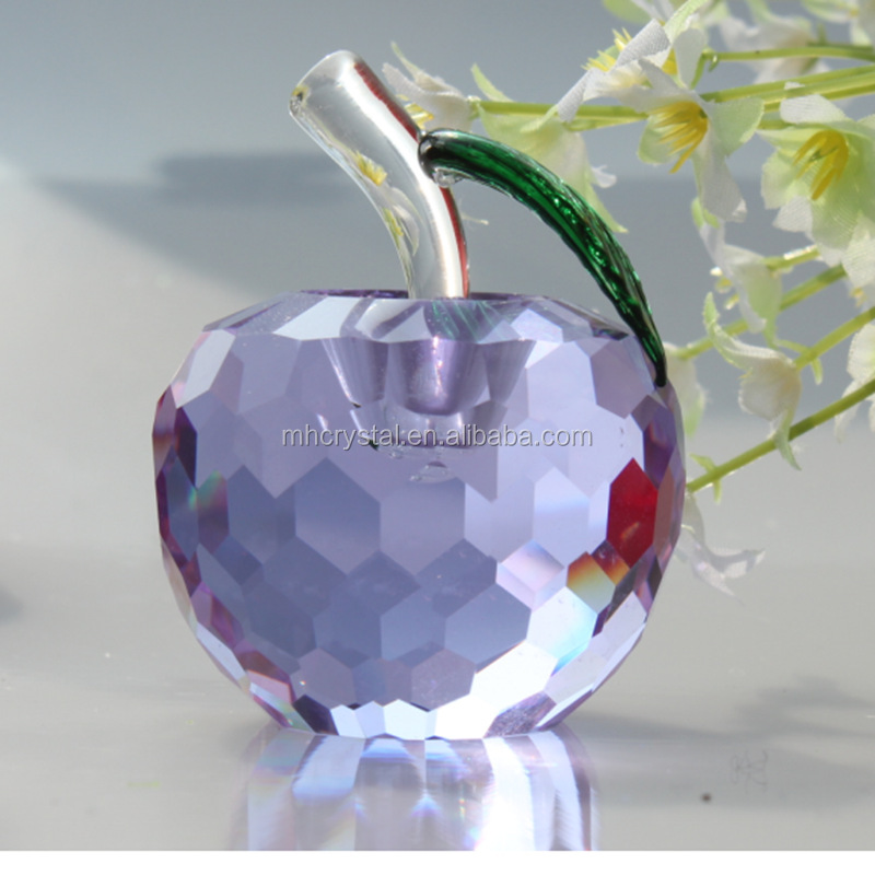 Purple Crystal Glass Apple Paperweight MH-H0116