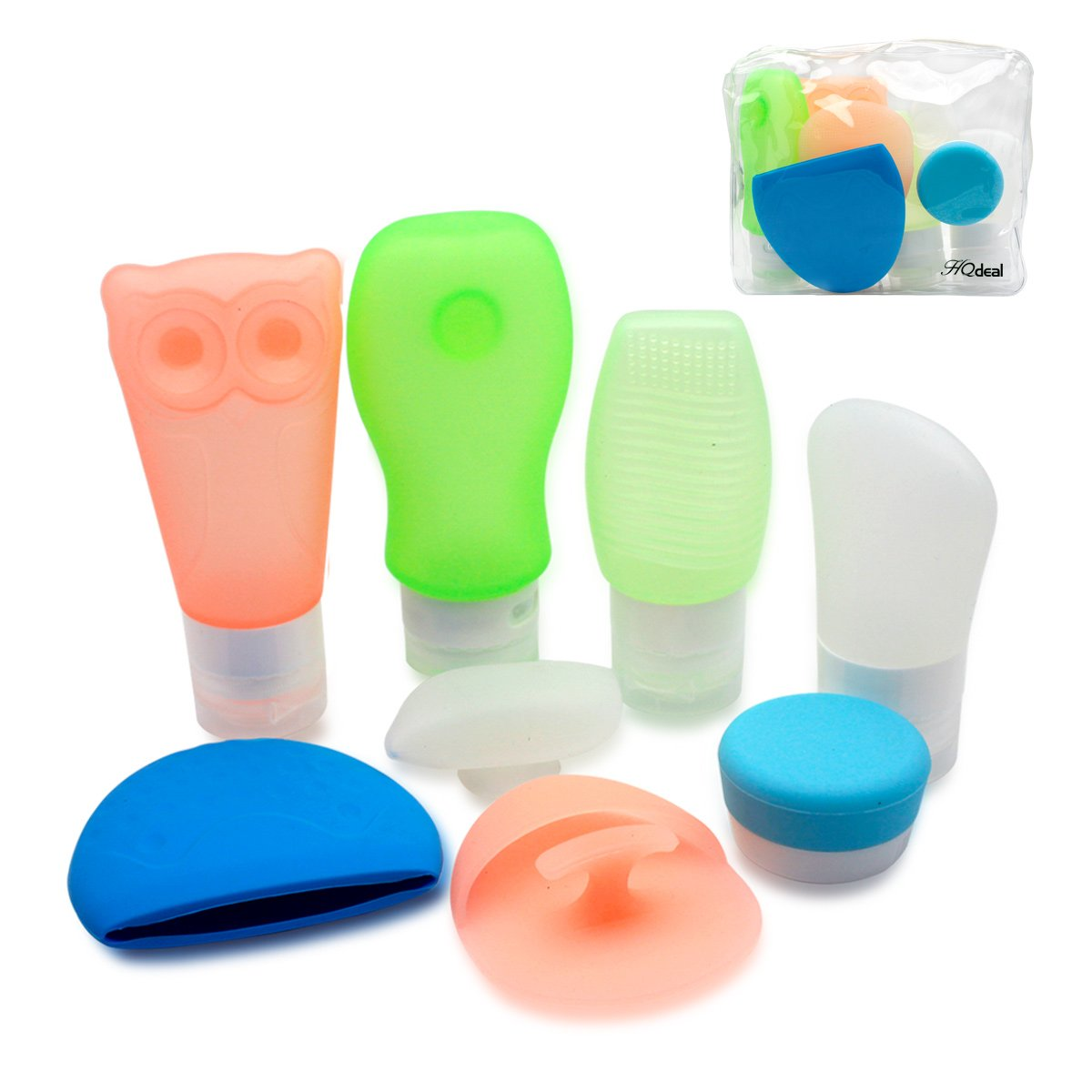 HQdeal Silicon Travel Bottles Set Air Travel Bottles Bath Refillable Containers with Toiletry Bag for Liquid Cosmetics Makeup Pack of 9