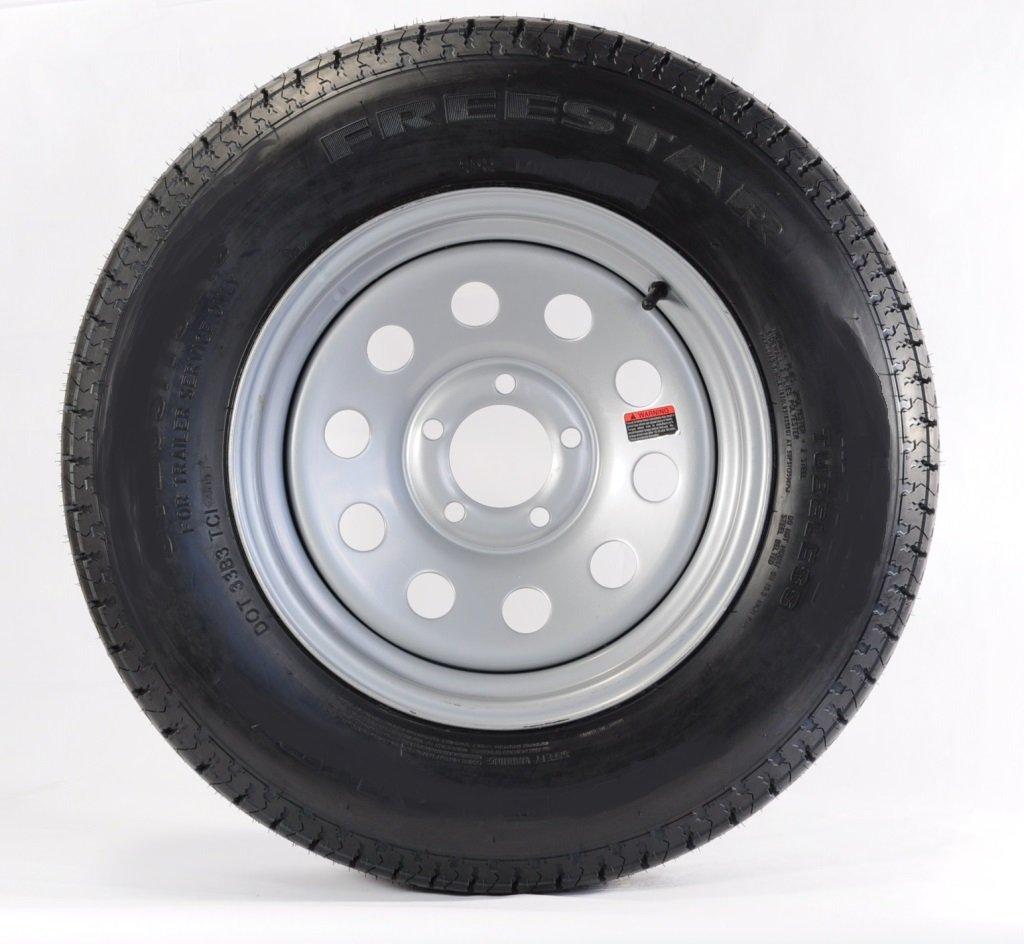 "eCustomRim 2-Pk Radial Trailer Tire & Rim ST175/80R13 13"" Load C 5 Lug Silver Modular 58919"