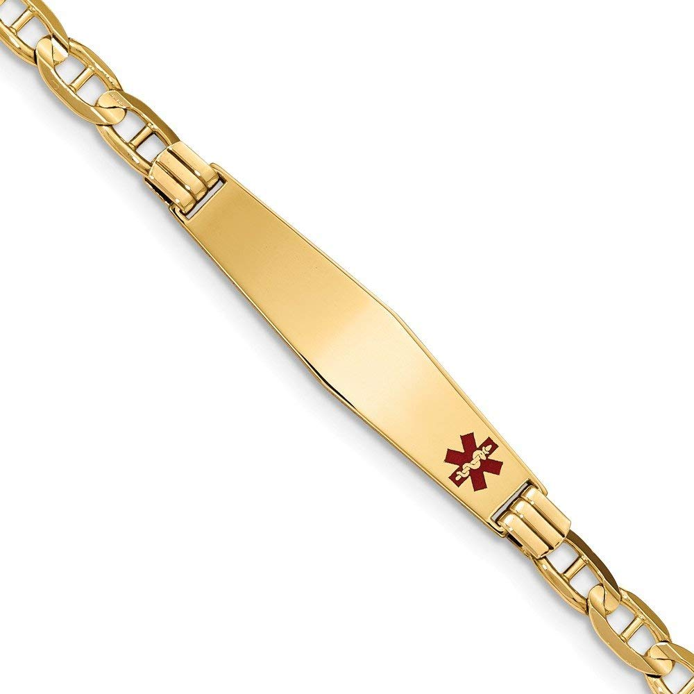 Perfect Jewelry Gift 14K Medical Soft Diamond Shape Red Enamel Anchor ID Bracelet