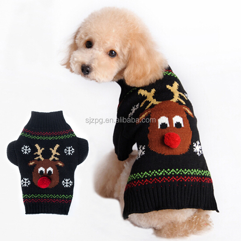 Warm reindeer dog pet sweater Christmas new clothes for pets