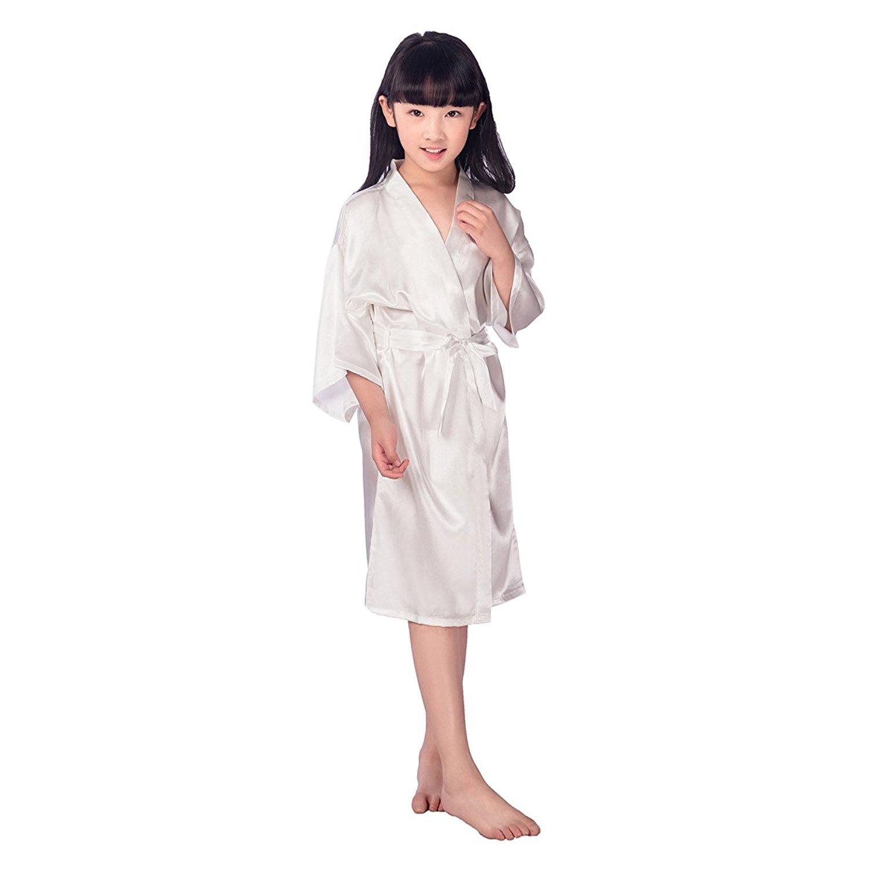2b411a5537 Get Quotations · TINKSKY Kids Satin Kimono Robe Bathrobe Nightgown For Spa  Party Wedding Birthday For 45 To 51