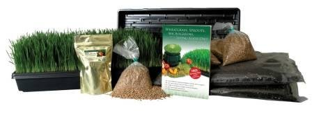 Certified Organic Wheatgrass Growing Kit - Grow & Juice Wheat Grass: Trays, Seed, Soil, Instructions, Wheatgrass Book, Trace Mineral Fertilizer & More