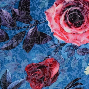 Beautiful design wholesale rose flower 100 polyester digital printed velour knitting fabric for dress
