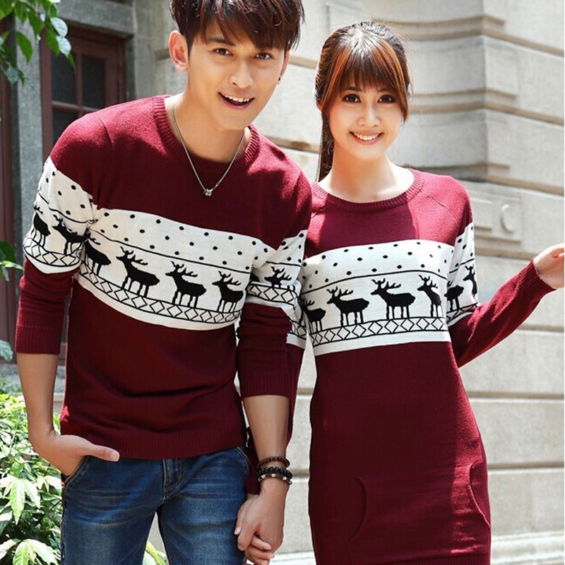 Hotest! Women Sweaters And Pullovers Leisure Long Sleeve O-Neck Lovers Sweaters Fashion Couple Christmas Sweaters