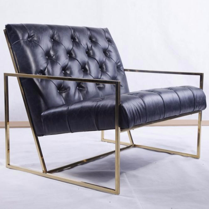 Barcelona Pavilion chair reproduction tufted gold stainless steel frame upholstered modern armchair