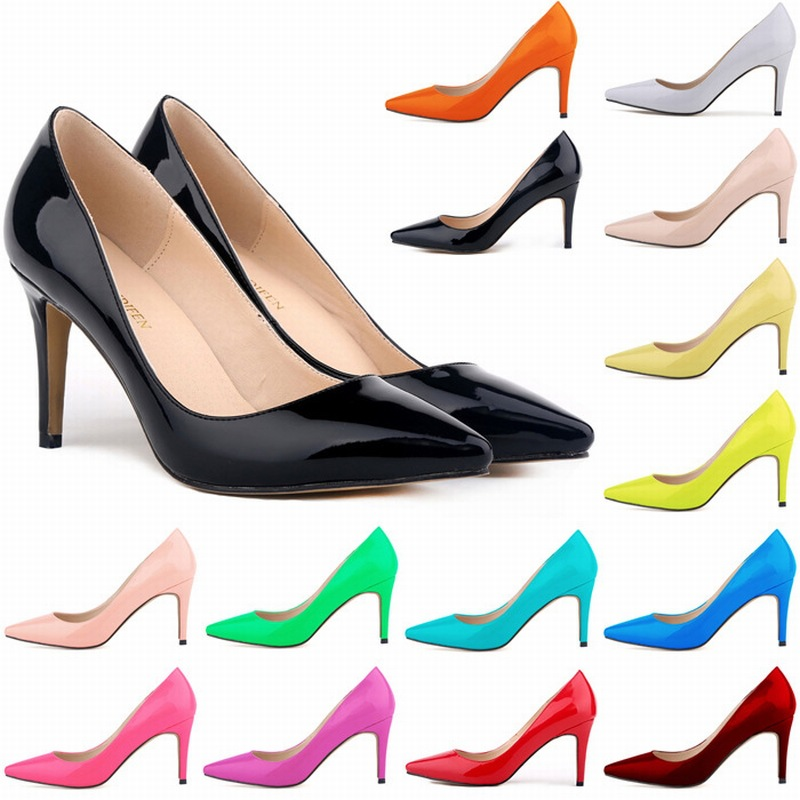 GUGUTREE 35-42# big sizes women middle heels dress shoes lady Bridesmaid dress shoes
