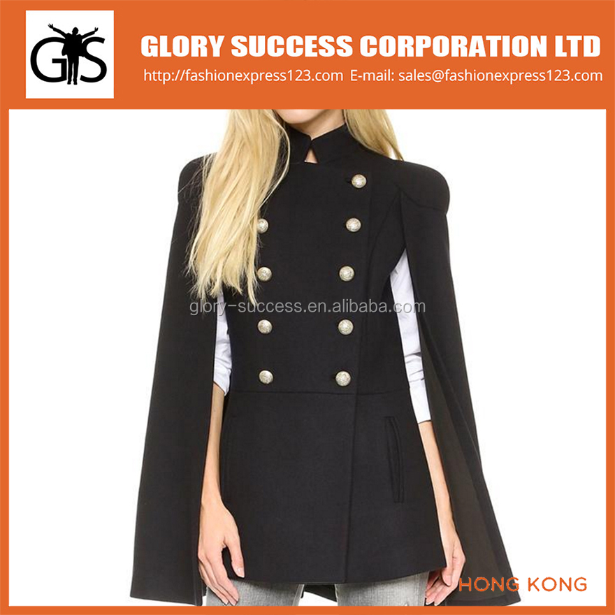 Latest Design Long Double breasted Cotton Winter Women Coat