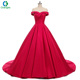 2018 Off Shoulder Red Satin Wedding Dress Bridal Gown