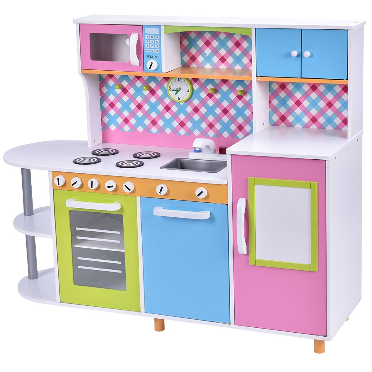Get Quotations · Costzon New Wood Kitchen Toy Kids Cooking Pretend Play Set  Toddler Wooden Playset Gift