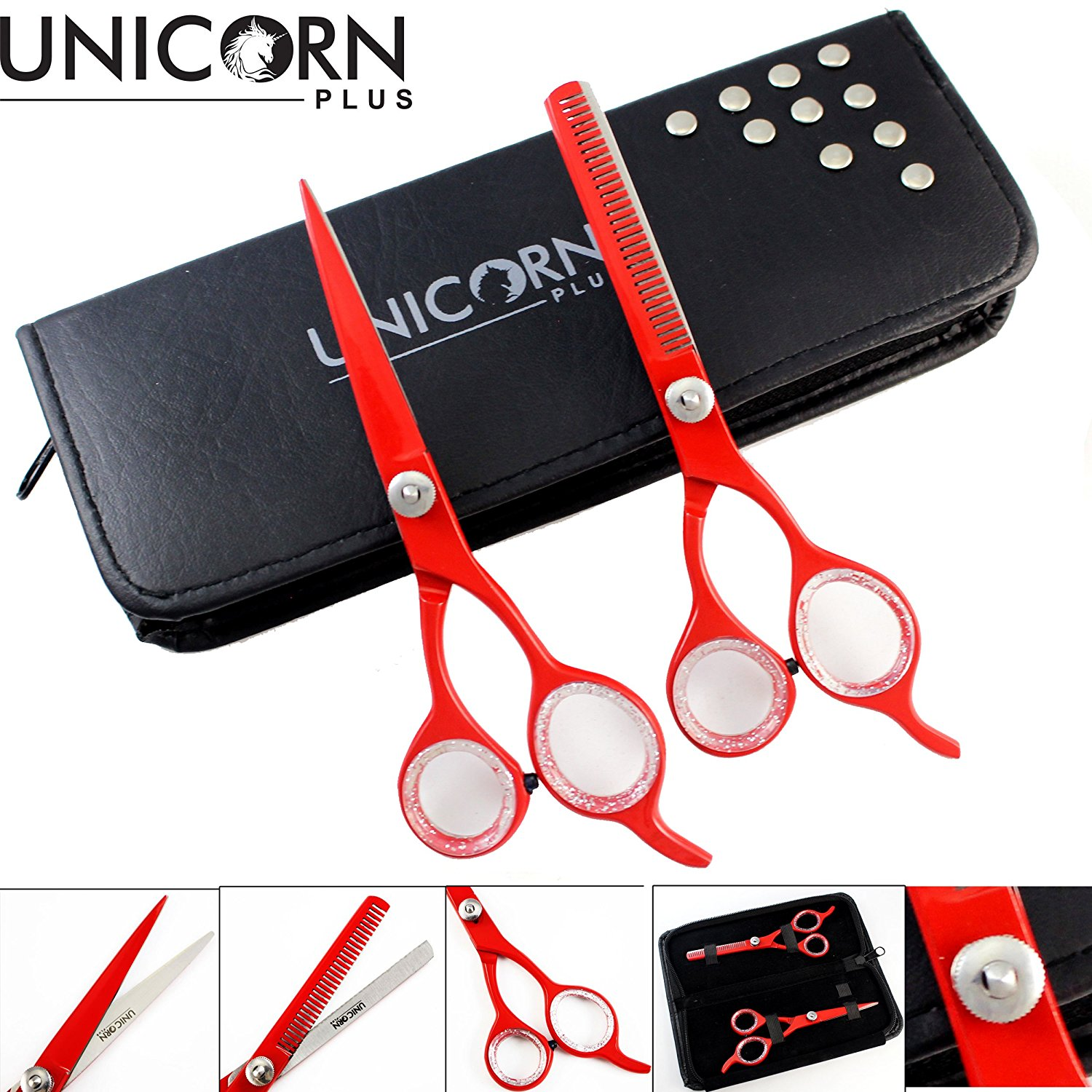"Unicorn Plus - Professional Barber/salon/home Hair cutting + Hair Thinning Scissors/Shears 6.0"" Inch - Barber Salon Stylish Hairdressing Set Come in a PVC Pouch"