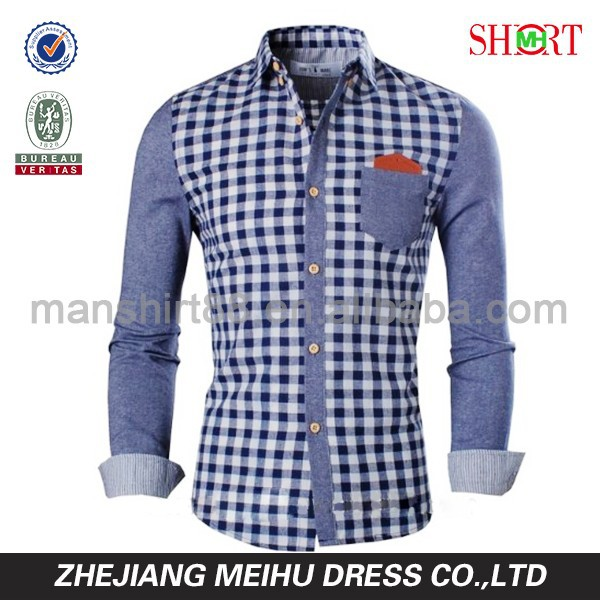 2016 New Fashion 100% Cotton Men's Checked Casual Shirts