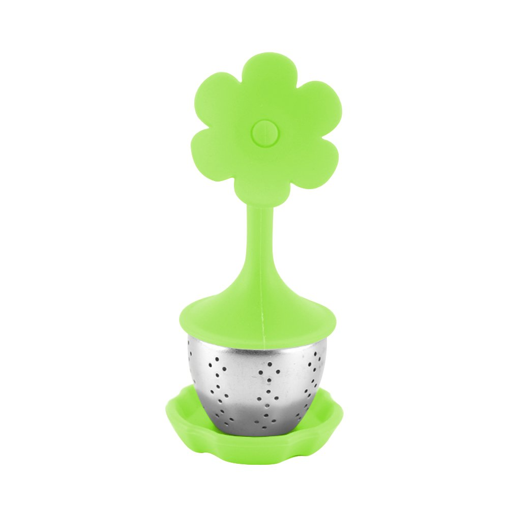 Loose Leaf Tea Infuser with BPA-Free Silicone Lid and Drip Tray Hotsaleglobal 1 Piece Fine Stainless Steel Tea Ball Tea Strainer Tea Cup for All Types of Loose Leaf Tea (Green Flower)