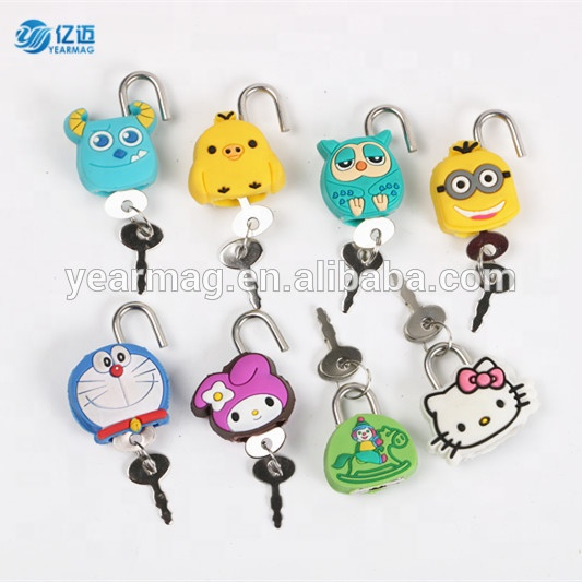 High quality custom design rubber mini key lock with different cartoon shapes