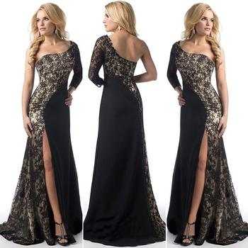Dress Evening Long Sleeve One shoulder Prom Gowns Formal Elegant Evening Party Dress