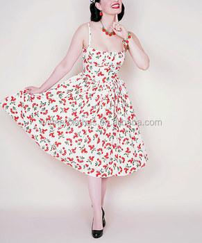 1950 sファッションヴィンテージスイングドレスチェリーロカビリードレス