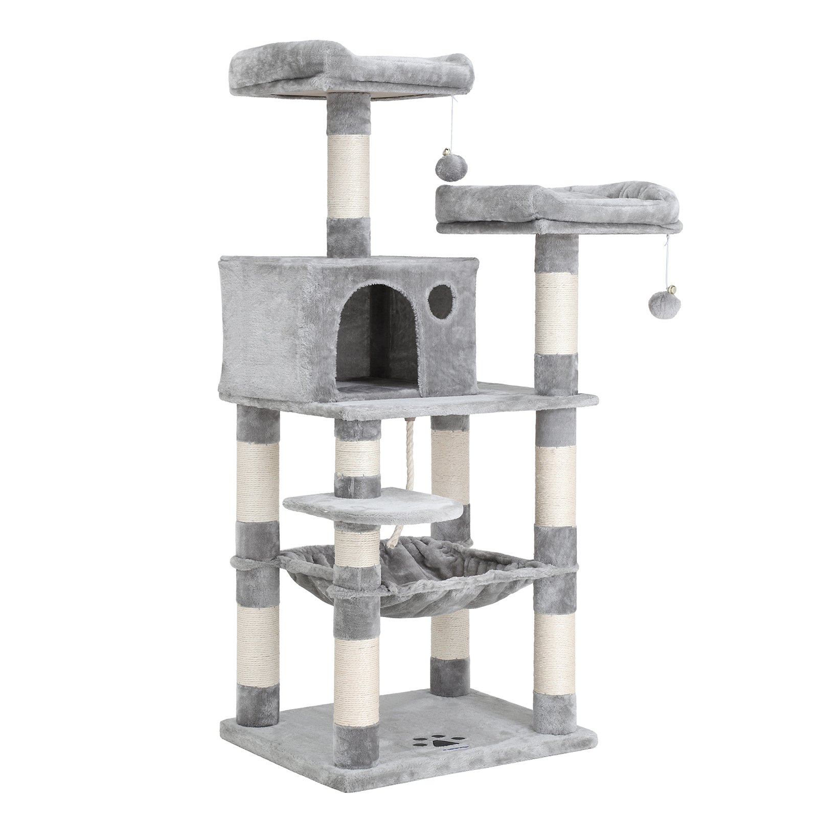 """SONGMICS 55"""" Cat Tree Condo Multi-Level Kitty Play House Sisal Scratching Posts Tower"""