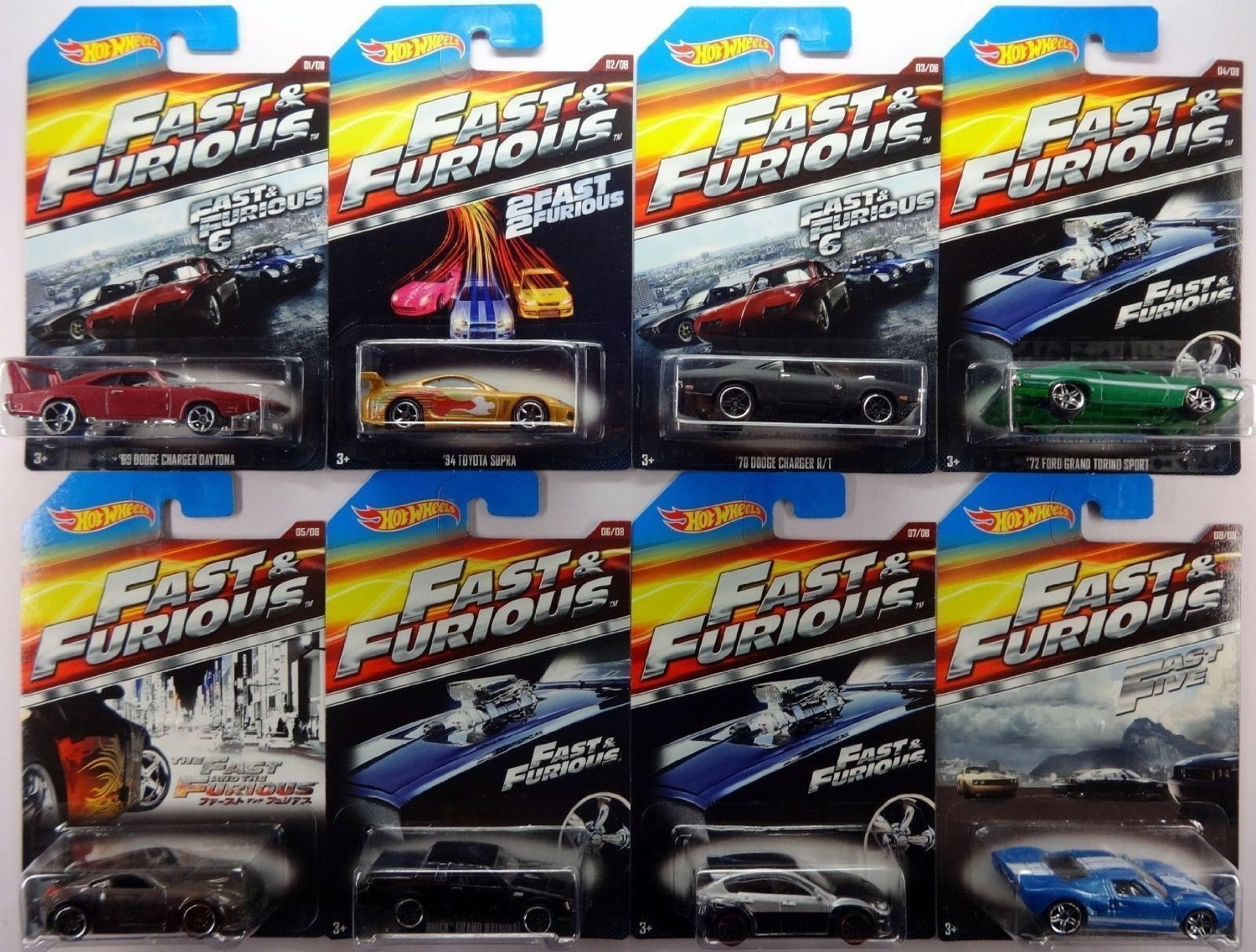 2015 Hot Wheels Fast & Furious - '69 Dodge Charger Daytona, '94 Toyota Supra, '70 Dodge Charger R/T, '72 Ford Grand Torino Sport, Nissan 350Z, Buick Grand National, Subaru WRX STI, Ford GT-40 - Complete Set of 8!! by Mattel