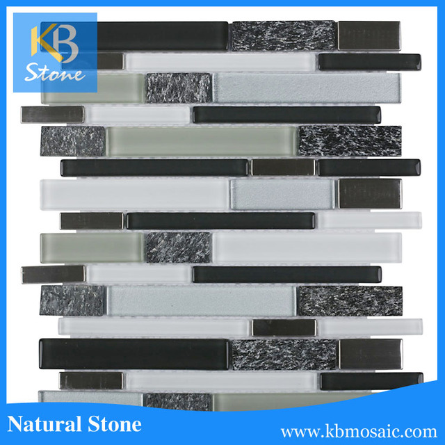 Modern design mosaic strip tile glass stone wholesale online
