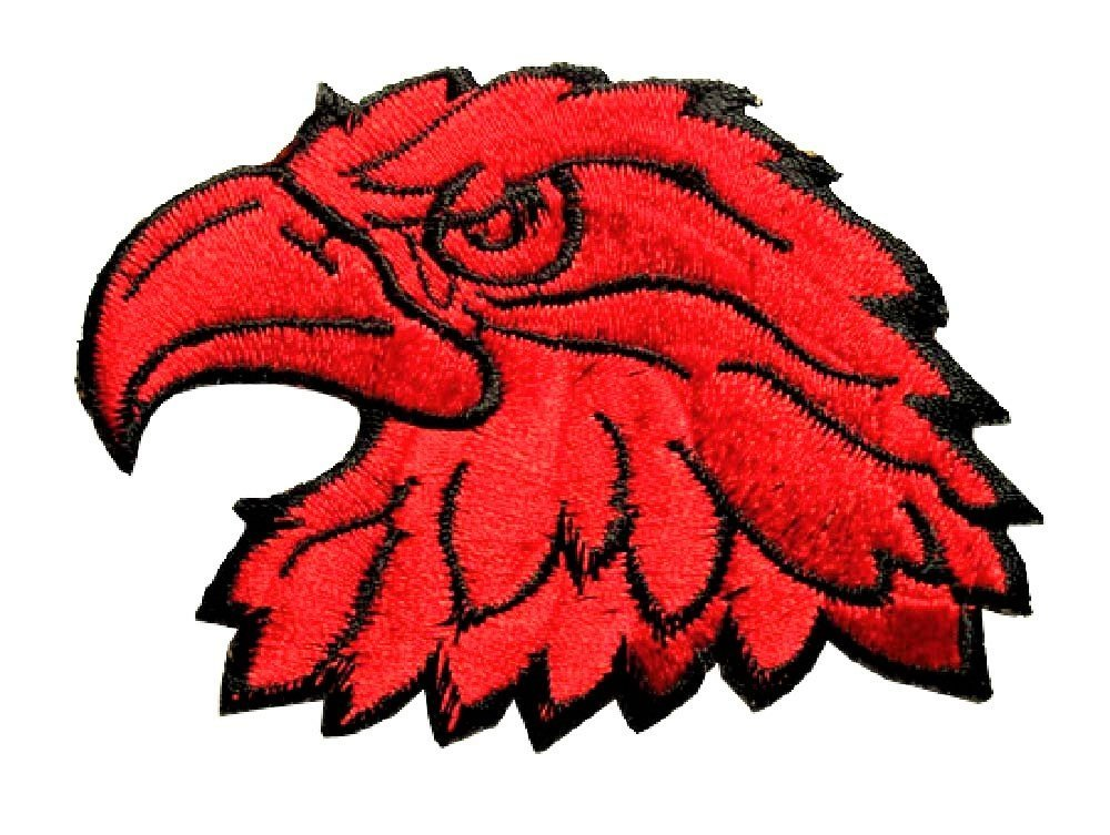 22ea16b1f9a1a Get Quotations · Red Eagle Head Back Patches Large Motorcycles Biker MC  Hawk Iron On Punk Metal Embroidered Patch