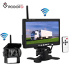 "Podofo Wireless Rear View Back up Camera Waterproof 18IR Night Vision System + 7"" Monitor for RV Truck Bus Trailer Lorry 12V 24V"