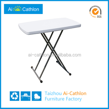 Adjustable Height Small Folding Study Table,Modern White Plastic Blow Mold Folding  Table