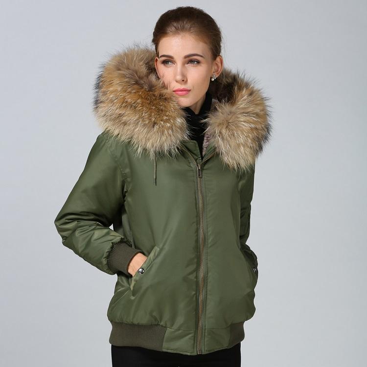 2018 Latest design fur lined winter khaki bomber jacket women with ...