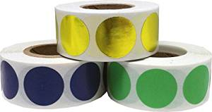 "Round Color Coding Craft Decoration Dot Stickers - Navy Blue Metallic Gold and Light Green - 1,500 Total 0.75"" Inch Round Adhesive Labels"