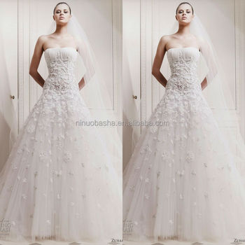 High-class White Ivory Wedding Dress Strapless Long Tail Appliqued ...