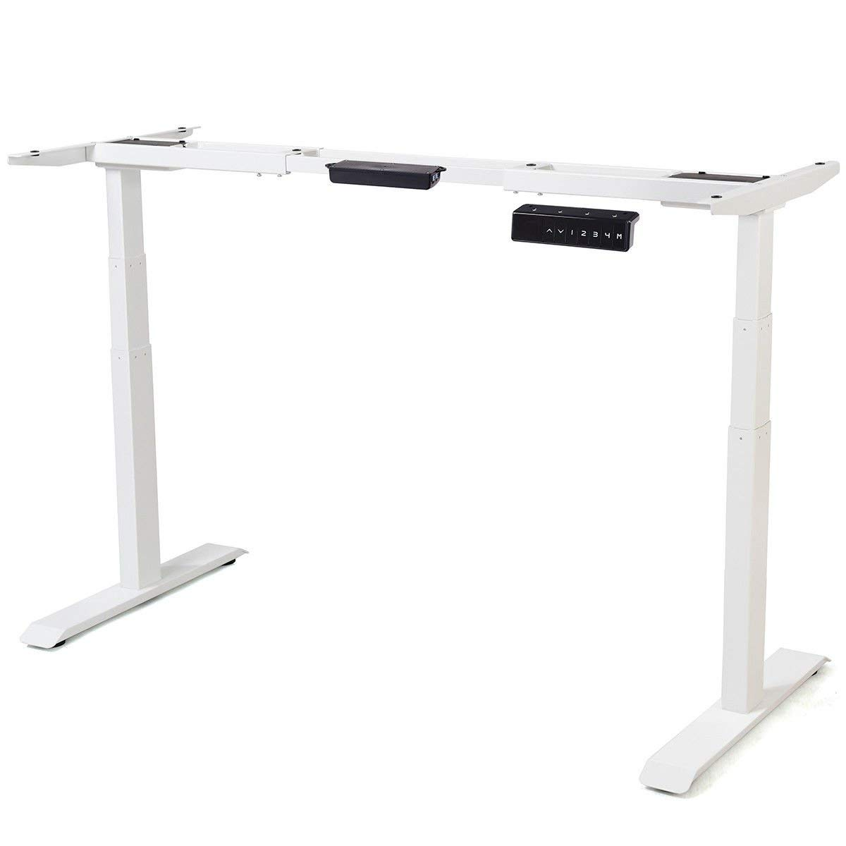 Tangkula Electric Standing Desk Frame Home Office Adjustable Height & Width Standing Desk FrameErgonomic Dual Motor Motorized Sit to Stand Desk with Memory Preset Handset Controller(001, White)